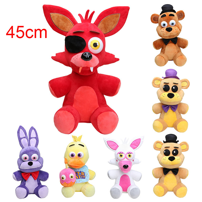 45CM Big Size Five nights at freddy's FNAF plush toy Foxy Freddy Fazbear Bonnie Mangle foxy chica plush doll children toy цена 2017