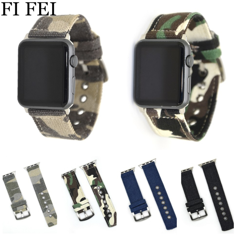 FI FEI Camouflage Woven Nylon Strap For Apple Watch Band 42 mm 38 mm Wrist Bracelet Watchband Series 3/2/1 38mm 42mm Watch Belt