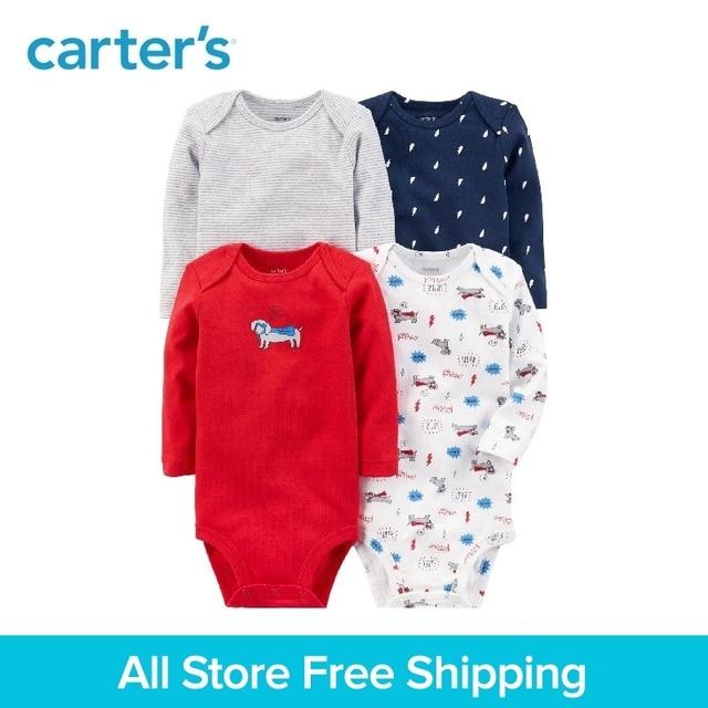 4pcs Cotton Long-Sleeve Bodysuits sets dog prints Carter's baby Boy clothing sets All Seasons 126H321