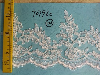 High quality african cord lace guipure cord lace fabric for wedding dress Flower lace applique Trim lace collar