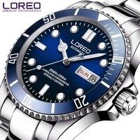 LOREO Mens Relógios Top Marca de Luxo Automático Mecânica Homens Relógio de Mergulho 200 M Série Semana Data Luminous Relógio de Safira