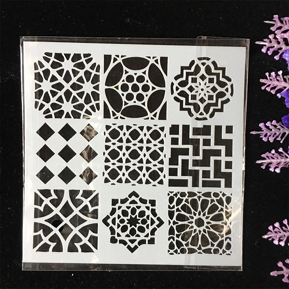 New 13cm Nine Grid Design DIY Layering Stencils Wall Painting Scrapbook Coloring Embossing Album Decorative Card Template