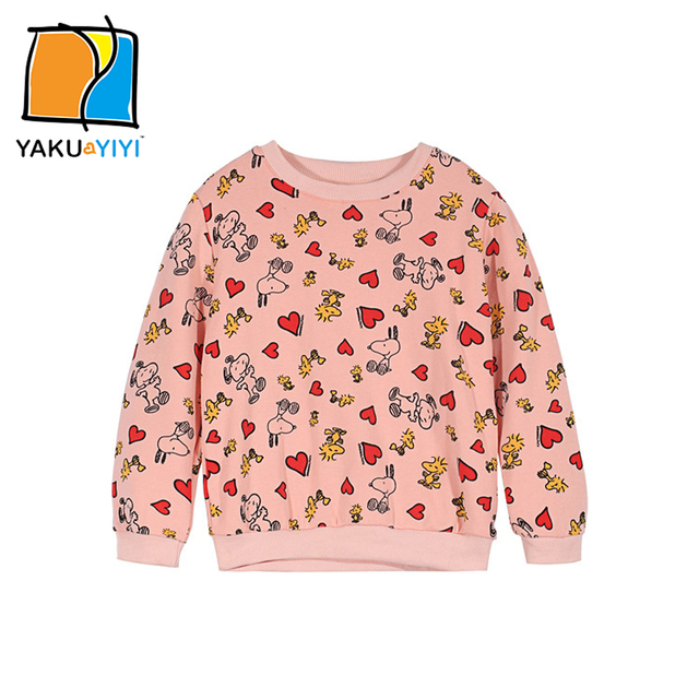 d782991c0f82 YKYY YAKUYIYI Cartoon Print Girls Sweatshirt Pink Long Sleeve Baby ...