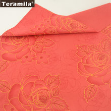 Teramila Fabric 100% Cotton Twill Material Quiting Red Printed Gold Rose Designs Textile DIY For Bedding Wedding Decoration CM(China)