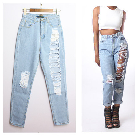 10c838aa9 Loose Ripped Jeans 2015 Summer Style Jeans Womens Pantalones Vaqueros Mujer  Hole Hollow Ripped Jeans Washed High Waist Jeans