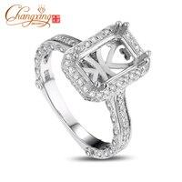 6x9mm Emerald Cut Milgrain Vinage Style Diamond Semi Mount Ring 14k White Gold