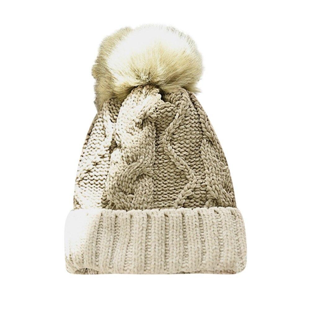 095effd753c 2018 New Women Color Block Knit Wool Beanie Cosy Winter Warm Bobble ...