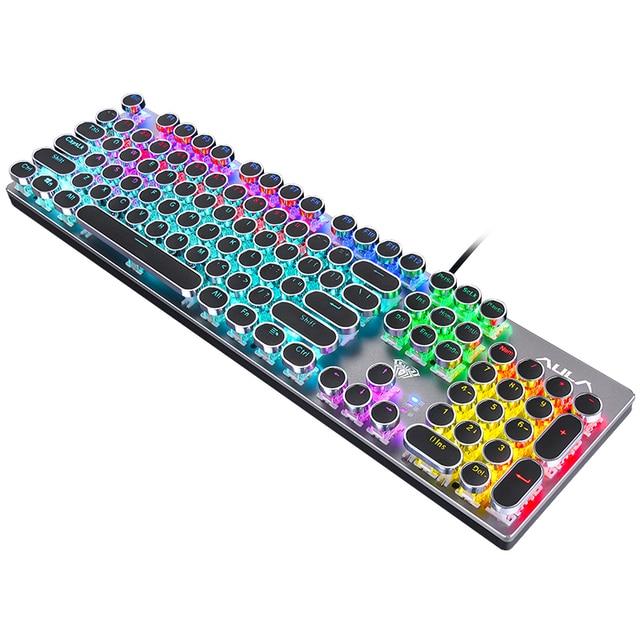 Gaming Backlit Mechanical Keyboard Blue/Black Switch Metal Panel Round Retro Keycap USB Computer Peripherals for Desktop Laptop 1