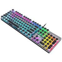 ゲーミングバックライト付きメカニカルキーボード青/黒スイッチ金属パネルラウンドレトロキーキャップ USB コンピュータ周辺機器デスクトップノート Pc 用