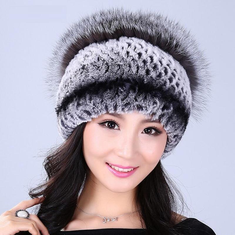 YCFUR Women Hats Caps Winter Natural Rex Rabbit Fur Hat Cap with Silver Fox Fur Top
