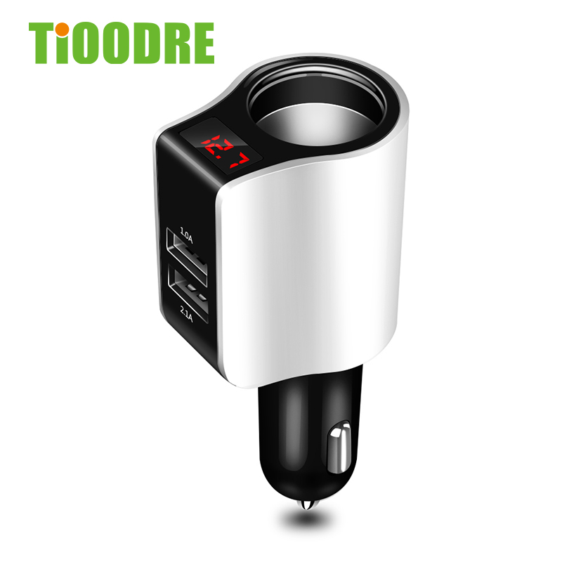 TiOODRE USB Charger Quick Charge 3.0 Digital LED Voltage Display Universal Adapter Fast Charging Car Charger For Phone Tablet