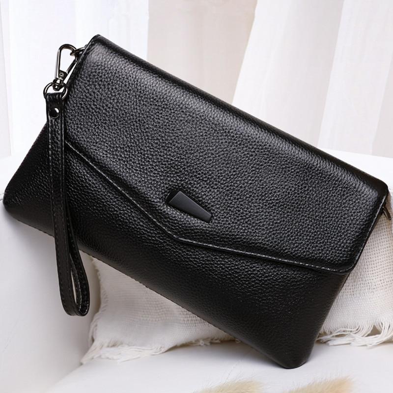 Het Beste Koreaanse Mode Dames Lederen Lychee Clutch Bag Top Layer Lederen Schoudertas Eenvoudige Messenger Bag