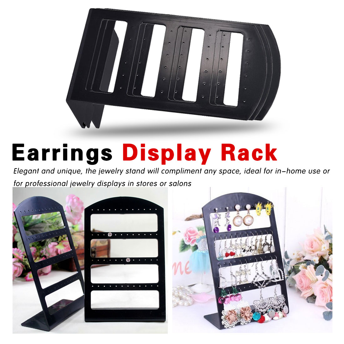 48 Holes Jewelry Organizer Stand Black Plastic Earring Holder Fashion Earrings Display Rack 3 Layers Jewelry Rack