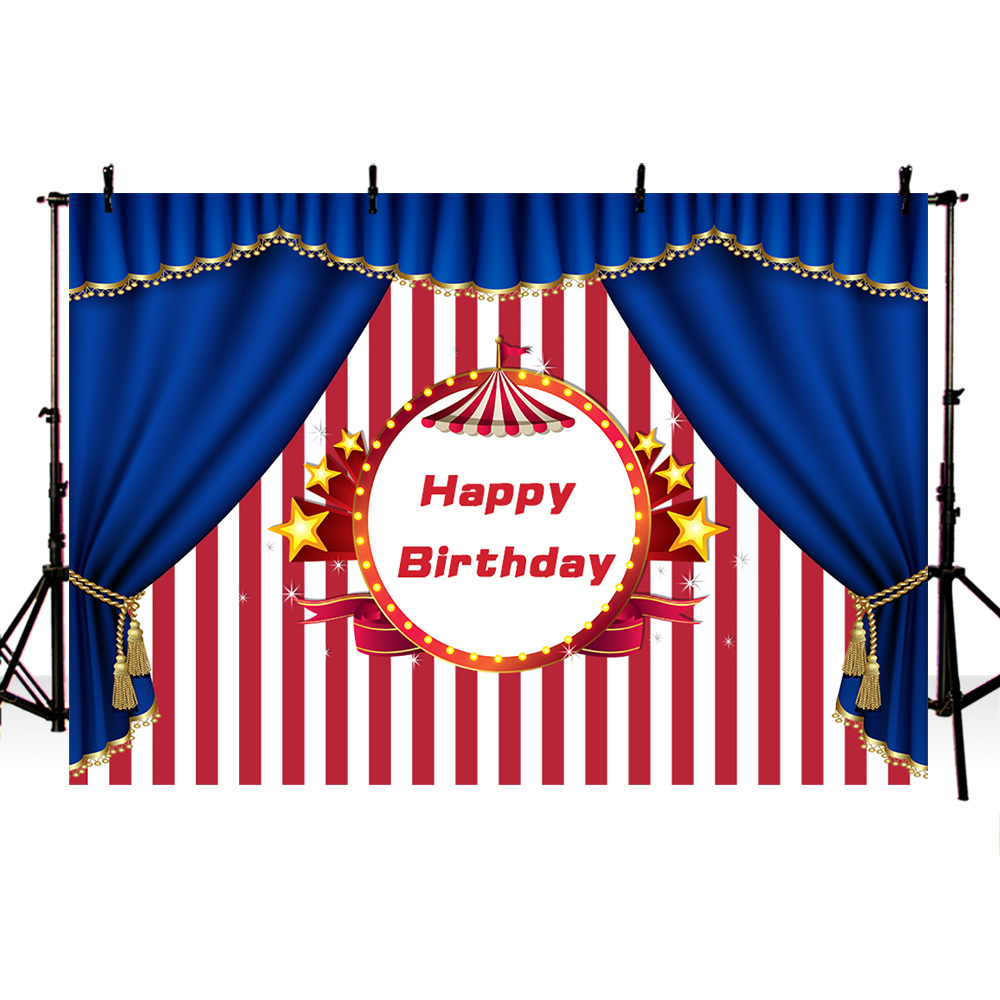Mehofoto Happy Birthday Banner Background for Photo Studio Red and White Stripes Backdrop Royal Blue Crown Stars in Background from Consumer Electronics