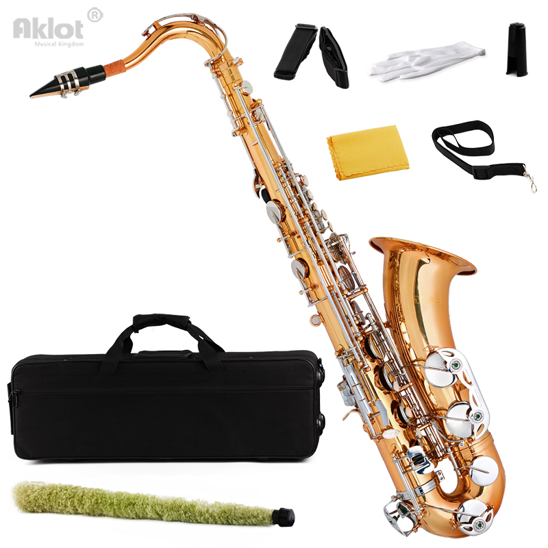 Aklot Bb Tenor Saxophone Sax Gold Brass Body Nickel Key Best Wind Instrument for Beginner Student french professional design water proof shockproof cozy soft lightweight bb tenor sax case backpack tenor sax bag for saxophone