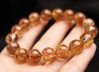 001062 Top Quality Natural Copper Rutilated Quartz Crystal Bead Bracelet 12MM