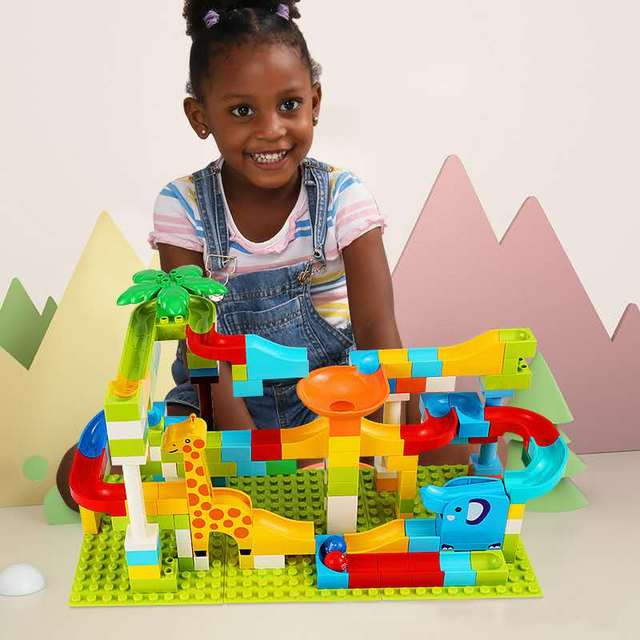 52-143Pcs Marble Race Run Maze Ball Track Building Block Funnel Slide Large Size Building Brick Compatible with Legoed Duploed