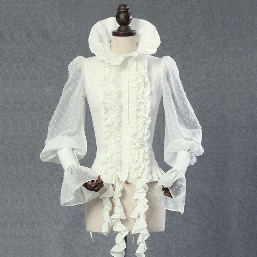 Summer women chiffon shirt Steampunk tops vintage Victoria Gothic costume office shirt Female Dovetail tassels chiffon blouse