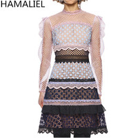 HAMALIEL Autumn Runway Dress 2017 Self Portrait Water Soluble Lace Patchwork Ruffles Long Sleeve Stand Collar