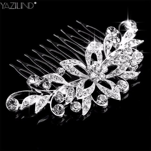 Bridal Comb Hair Clip Silver Leaves Tiaras Wedding Hair Accessories Bridal Headp