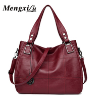 MENGXILU Patchwork Women Bags Soft Women PU Leather Handbags High Quality Women Shoulder Bags Large Capacity
