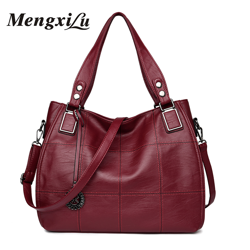 MENGXILU Patchwork Women Bags Soft Women PU Leather Handbags High Quality Women Shoulder Bags Large Capacity Casual Tote Bag