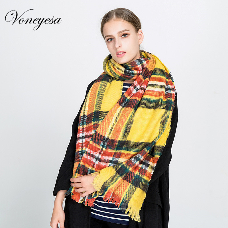 Voneyesa Women Scarves 2017 New Design Extra Cashmere Knitted Long Scarf Shawl Fashion Classic Autumn Hijab Wraps ROM1711