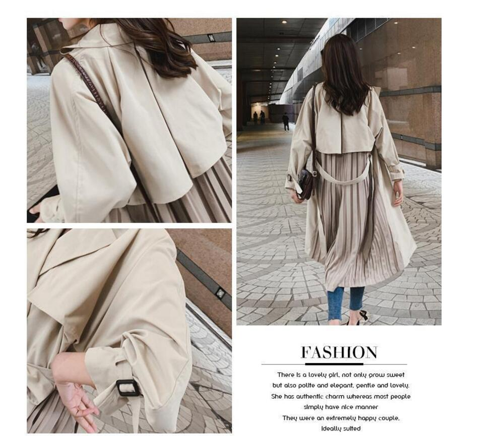 "British style Long Sleeves Autumn pleated coats women""s Long sleeve windbreaker overcoats abrigo mujer 5"