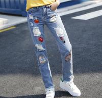 Red Lips Ripped Patchwork Hole Straight Jeans Pants Women Students Casual Denim Jeans Long Trousers Pants