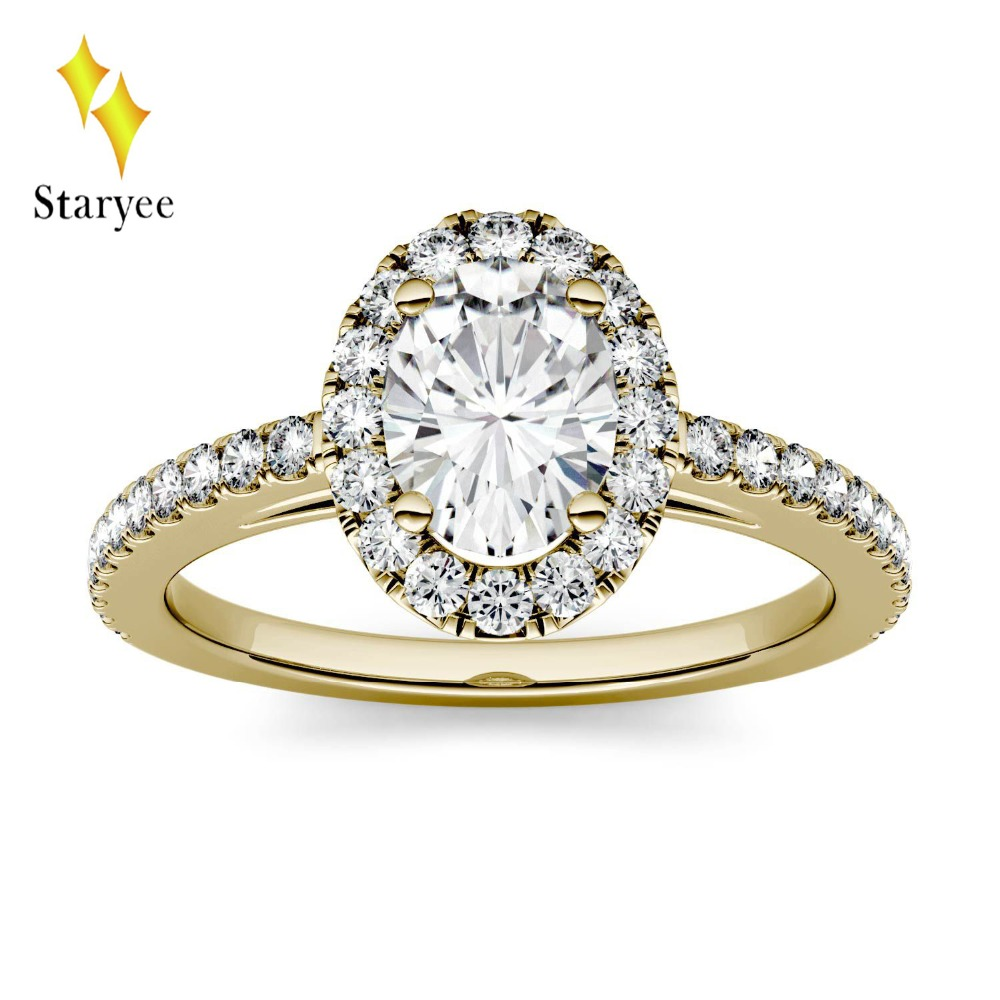 цена Test Positive 18K Solid Yellow Gold 0.9ctw 7*5mm DEF Oval Brilliant Engagement Band Moissanite Lab Diamond Halo Rings For Women