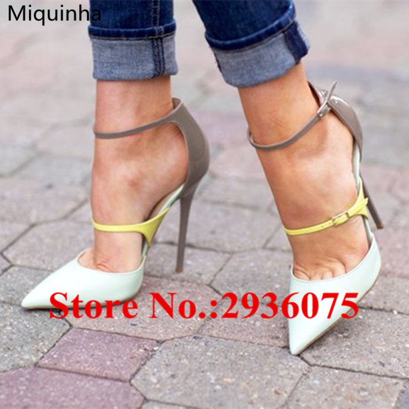 Two Straps Sweet Mixed Color Women Party Shoes Woman Pointed Toe Ankle Strap Stiletto High Heels Pumps Fashion Ladies Sandals wholesale lttl new spring summer high heels shoes stiletto heel flock pointed toe sandals fashion ankle straps women party shoes