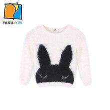YKYY YAKUYIYI Autumn Cartoon Rabbit Pattern Girl Sweater Casual Baby Warm Tops Kids Pullovers Children Clothing