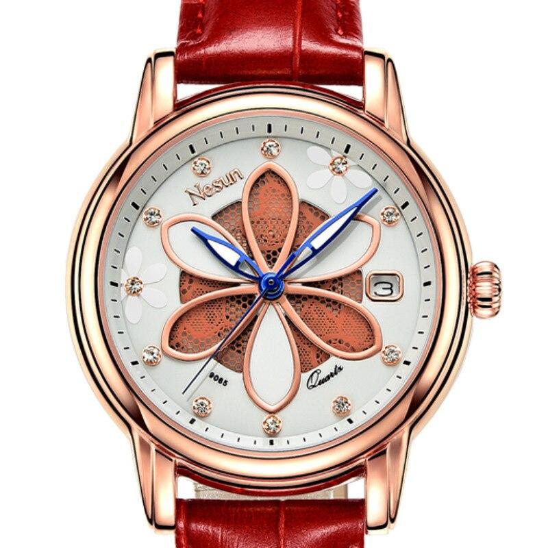 New Switzerland Nesun Women's Watches Luxury Brand Quartz Watch Women Six-leaf grass design Clock Diamond Wristwatches N9065-3