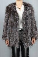 New Arrival Wholesale Fur Coat Knit Silver Fox Fur Overcoat Women Winter Real Jacket Full Sleeves Outerwear