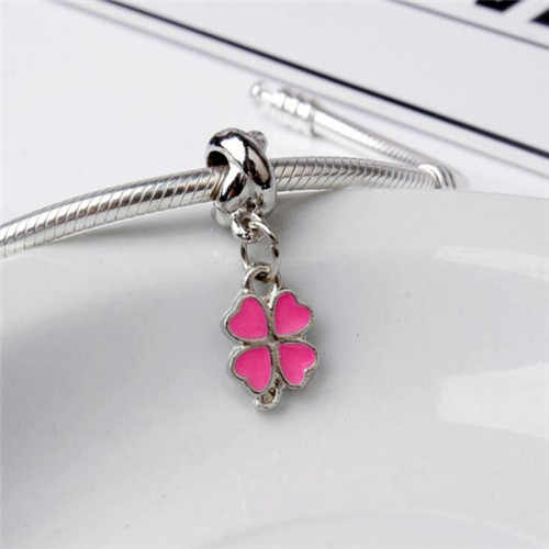 New Fashion Mickey Mouse Santa Claus Four-leaf Clover Love Heart Crystal Fit Pandora Charms Bracelets for Women DIY Gift Jewelry