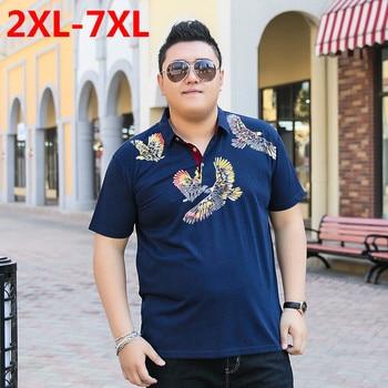 2018 new Plus size 9XL 8XL 7XL 6XL 5XL Fashion Mens summer brand Cotton dragon ball lapel Short sleeves polo ralphmen pol shirt