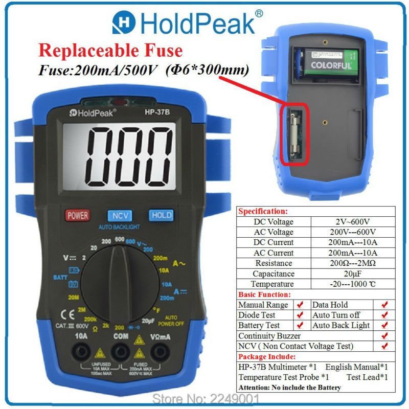 ФОТО HoldPeak HP-37A Mini Digital Multimeter AC DC Tester with Temperature Resistance and Battery Test