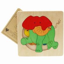 Pulsuz çatdırılma Uşaqlar '3D Cizgi Heyvan Taxta Puzzle Oyuncaq / Uşaqlar' Ağac Puzzle Oyuncaq / Cizgi Film Nümunəsi Çox qat