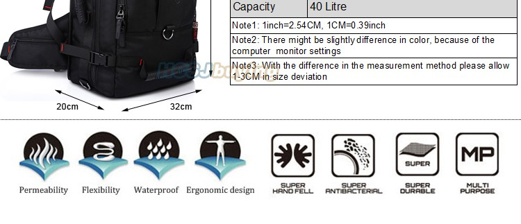 KAKA Men Backpack Travel Bag Large Capacity Versatile Utility Mountaineering Multifunctional Waterproof Backpack Luggage Bag 2