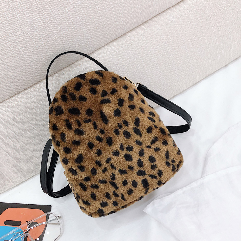 Sincere Women Plush Backpack Leopard Print Girl Student Backpack Satchel Travel School Bag Hand Bag Travel Bags Bolso Mujer#b02 Selected Material Luggage & Bags