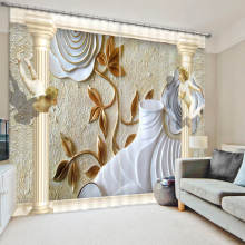 Home Textile 3D Blackout Curtains Panel Europe White House Carved Murals Pattern Thicken Fabric Bedroom Curtains for Living Room