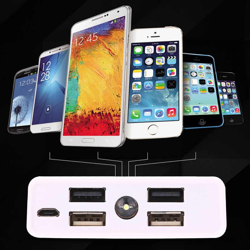 Bricolage batterie externe 4 USB + Micro USB 6x18650 boîtier de batterie boîtier d'alimentation de charge Powerbank chargeur couverture pas de batterie