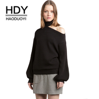 HDY Haoduoyi Apparel 2017 Summer Women Sweaters Casual Loose Solid Color Female Sexy One Shoulder Tops
