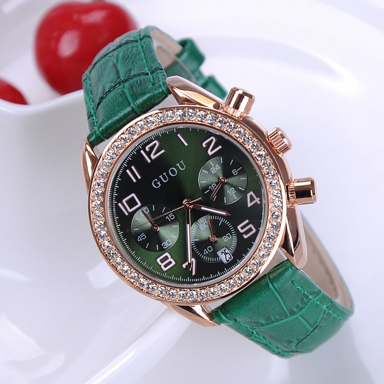 (6 Points) Watches 2016 New Arrival Women Rhinestone Watches Luxury Quartz Watch Genuine Leather Wristwatches (8 Color) GUOU8037