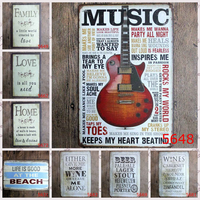 2017 new arrival love guitar tin plate signs movie poster