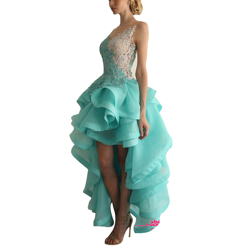 Green Color Luxury Lace And Organza Custom Made Cocktail Dress 2017 Applique Backless Tea Length Party