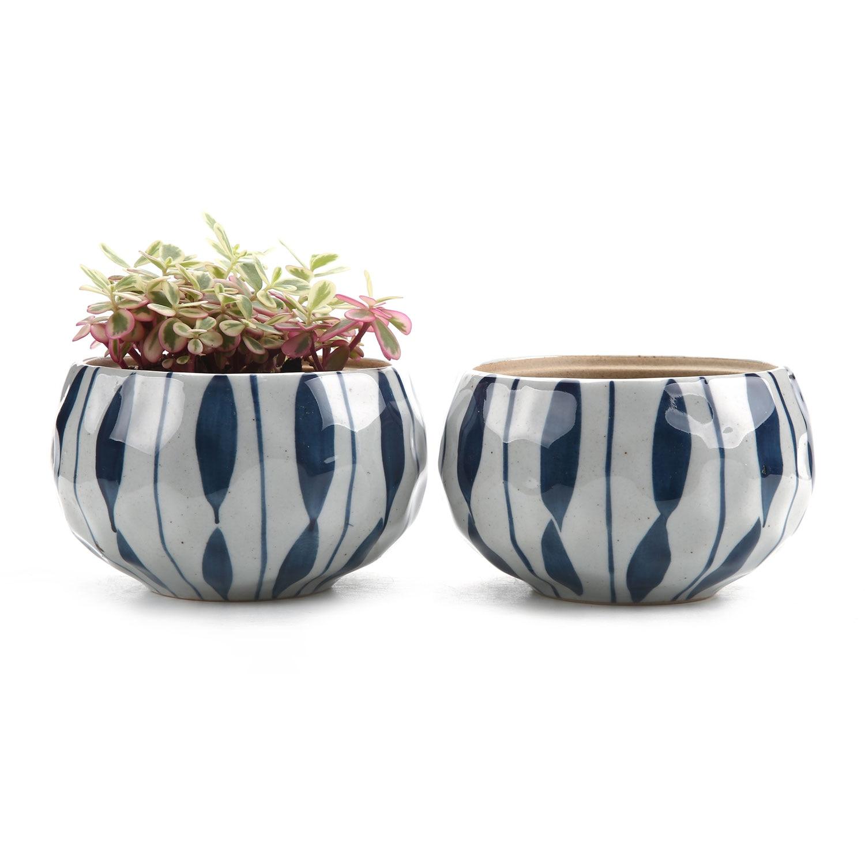 T4U 4.25 Inch Ceramic Japanese Clay Serial Blue Flower succulent Plant Pot Cactus Flower Pot Container Planter 1 Pack of 2
