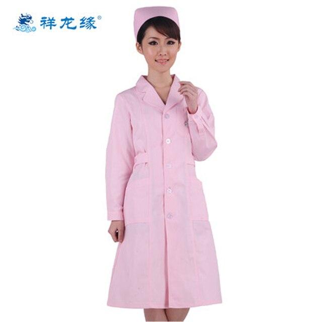 Women\'s Medical Clothing Pink Nurse Smock Long Sleeve Nurse Uniform ...