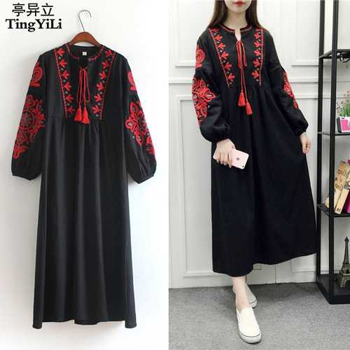 2033594cba5e Detail Feedback Questions about TingYiLi Floral Embroidered Ethnic Dress  Cotton Linen Lantern Long Sleeve Maxi Dress Black Blue White Loose Long  Dress Women ...