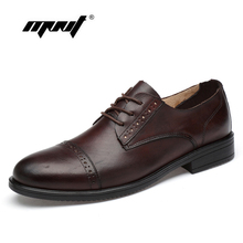 Italian Design Natural Leather Men Oxfords Brogue Office Business Shoes Flats Formal Wedding Dress